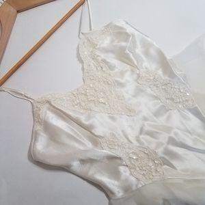 Victoria's Secret satin & lace beaded bridal teddy